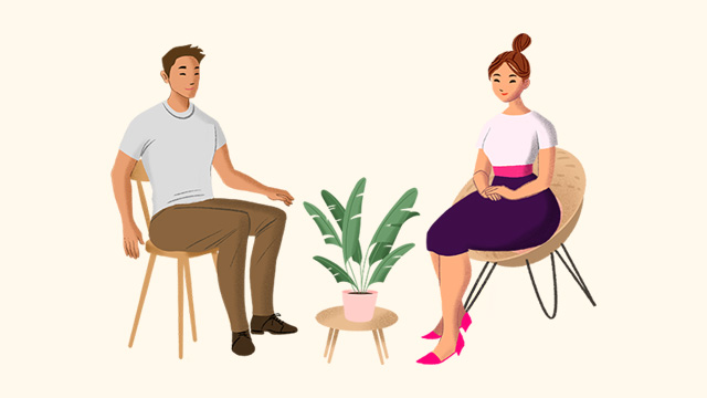 Woman and man talking | Customer support