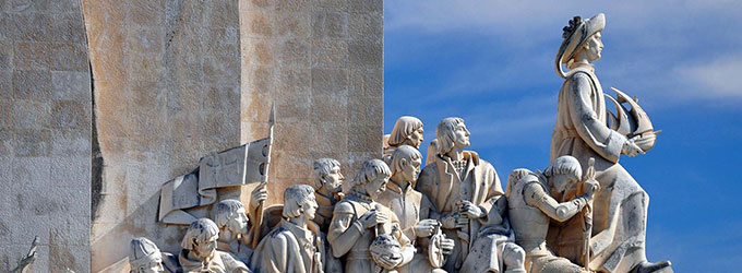 Monument to the discoverers in Lisbon, Portugal. Marble memorial of world famous sailors and explorers.