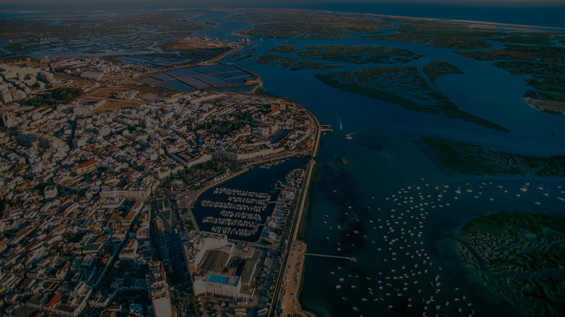 Aerial view of Marina, Faro, Portugal