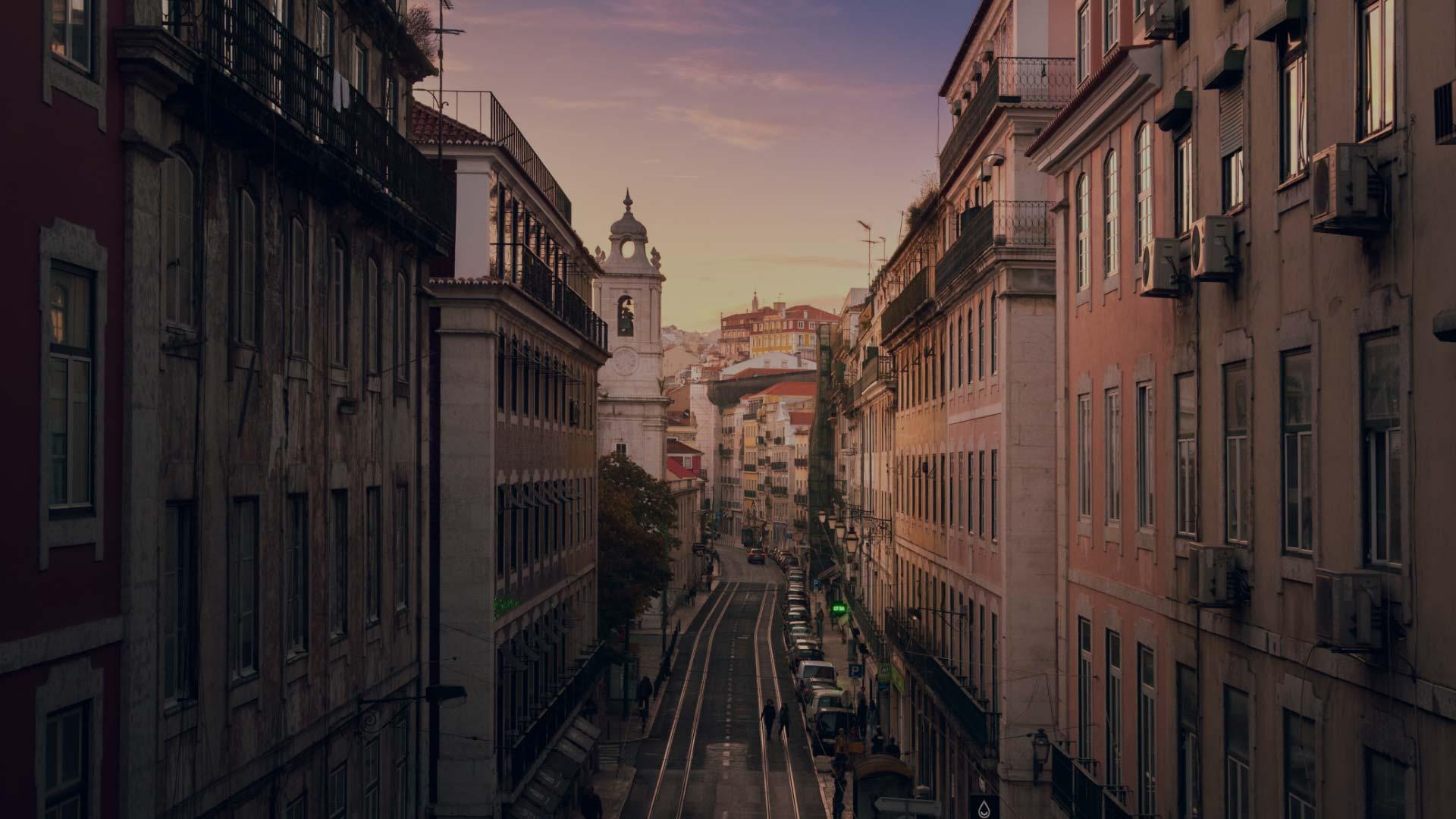Aerial street view, Lisbon, Portugal