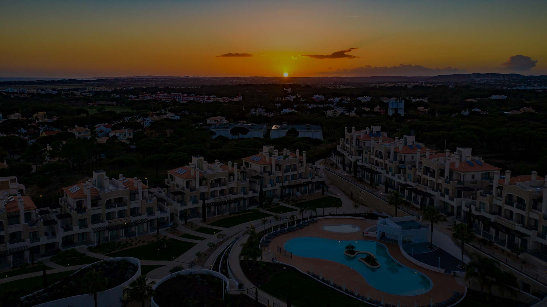 Aerial view of Pine Hills, Vilamoura, Portugal at Sunset